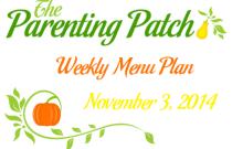 Weekly Menu Plan 3 November 2014