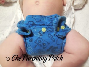 Front of StorkStopover Upcycled Newborn Fitted Pocket Cloth Diaper at Fourteen Pounds