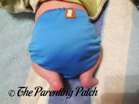Royal Blue BubbyBums Newborn All-in-One Cloth Diaper on Newborn 5