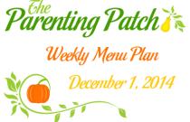 Weekly Menu Plan 1 December 2014