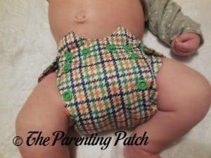 Front of Emerson Smart Bottoms Born Smart Newborn Diaper on Newborn at Seven Weeks