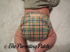 Back of Emerson Smart Bottoms Born Smart Newborn Diaper on Newborn at Seven Weeks