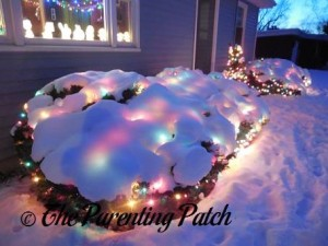 Outdoor Christmas Lights on a Snowy December Evening 6
