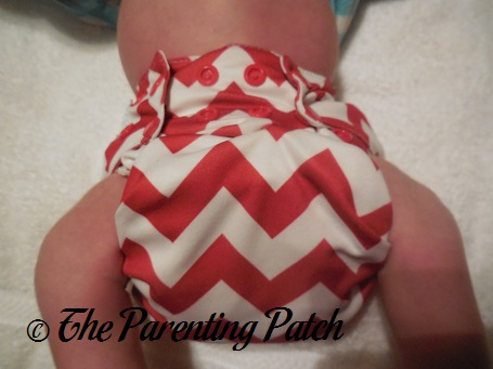 Candy Cane Chevron Nicki's Diapers One-Size Bamboo All-in-One Cloth Diaper on Newborn 1
