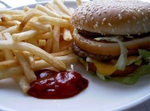 Fast Food Fries and Burger