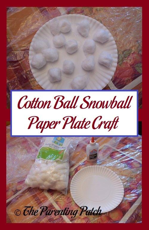 Cotton Ball Snowball Paper Plate Craft