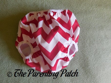 Front of Newborn Candy Cane Chevron Nicki's Diapers Pull-On Diaper Cover