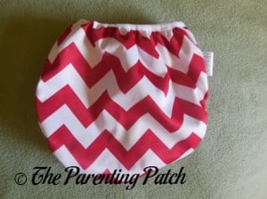 Back of Newborn Candy Cane Chevron Nicki's Diapers Pull-On Diaper Cover