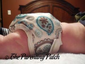 Side of Capri Newborn Diaper Cover on Newborn at Nine Weeks 2