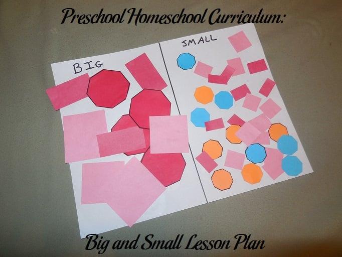 Preschool Homeschool Curriculum: Big and Small Lesson Plan