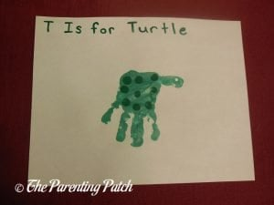 Completed T Is for Turtle Handprint Craft