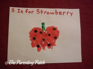 Finished S Is for Strawberry Handprint Craft