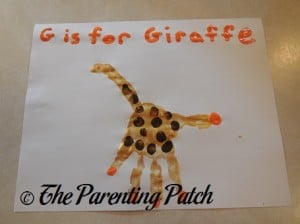 G Is for Giraffe Handprint Craft
