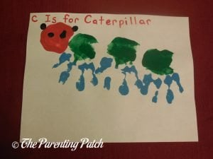 Completed C Is for Caterpillar Handprint Craft