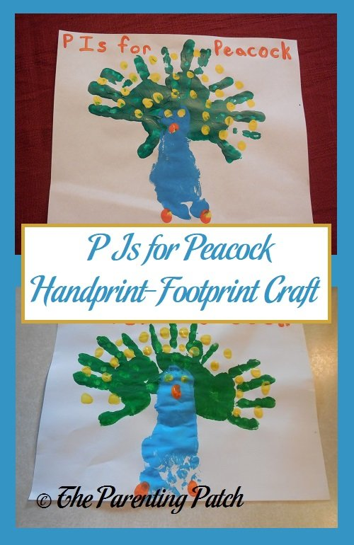 P Is for Peacock Handprint-Footprint Craft