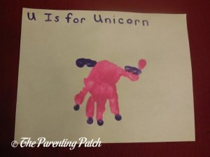 Completed U Is for Unicorn Handprint Craft