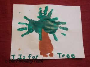 Completed T Is for Tree Handprint-Footprint Craft