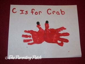 Completed C Is for Crab Handprint Craft