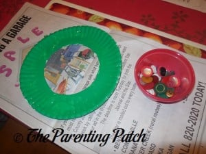 Green Paper Plate Ring and Buttons