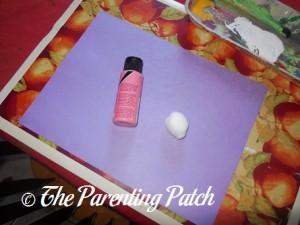 Purple Construction Paper, Pink Paint, and Cotton Balls