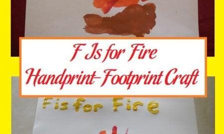 F Is for Fire Handprint-Footprint Craft