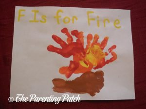 Completed F Is for Fire Handprint-Footprint Craft