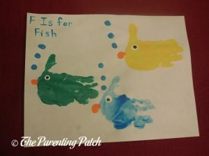 Completed F Is for Fish Handprint Craft