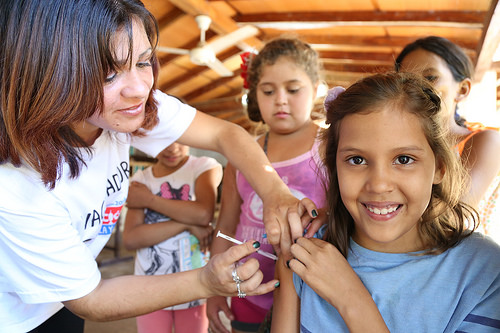 Girl Receiving the Measles Vaccine