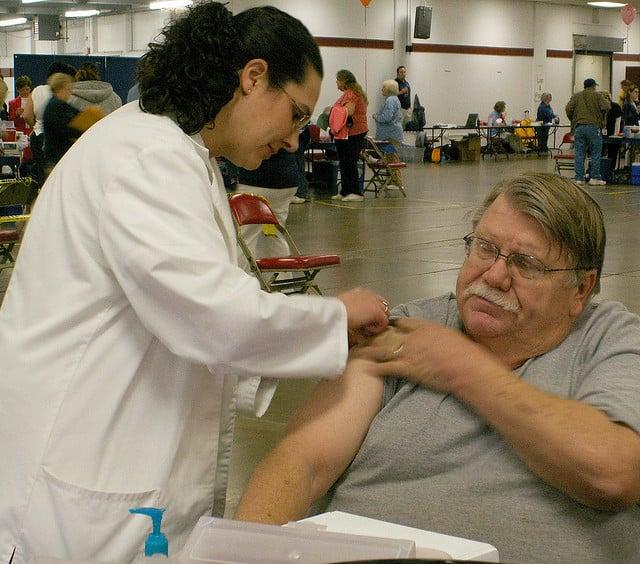 Man Receiving Flu Shot