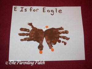 Completed E Is for Eagle Handprint Craft