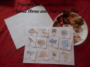 Animal Homes and Food Preschool Activities
