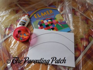 Materials for 'Elmer and the Rainbow' Paper Rainbow Craft