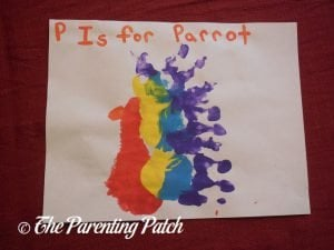 Completed P Is for Parrot Handprint-Footprint Craft