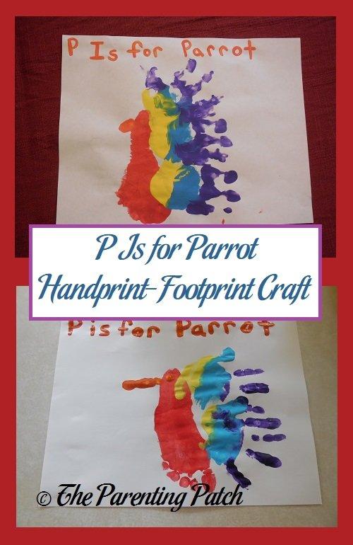 P Is for Parrot Handprint-Footprint Craft