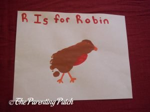 Completed R Is for Robin Footprint Craft