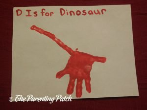 Completed D Is for Dinosaur Handprint Craft