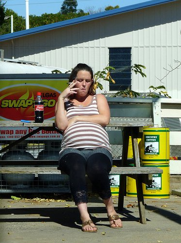 Pregnant Woman Smoking Cigarette