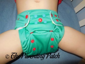 Front of Happy Laladays Lalabye Baby One-Size Cloth Diaper at Three Years 1