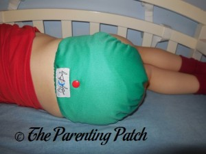 Back of Happy Laladays Lalabye Baby One-Size Cloth Diaper at Three Years 1