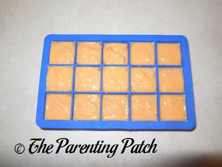 Homemade Salmon and Sweet Potato Baby Food in Silicone Ice Cube Trays