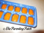 Homemade Carrot Baby Food in Ice Cube Tray