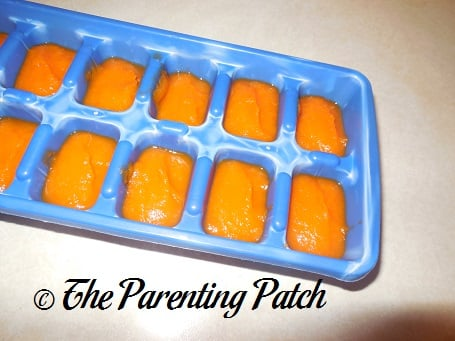 Homemade Carrot Baby Food in Silicone Ice Cube Trays