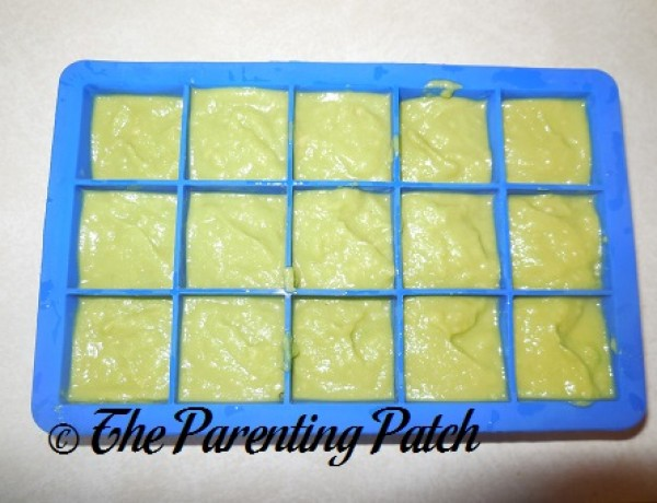 Homemade Avocado Baby Food in Silicone Ice Cube Trays