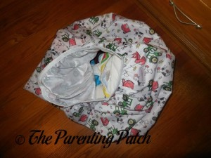 Dirty Diapers in Farm ecoAble Cloth Diaper Pail Liner