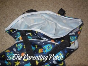 Zippered Compartment of Spaceship ecoAble Wet/Dry Cloth Diaper Pail Bag with Handles 1