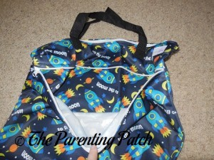 Zippered Compartment of Spaceship ecoAble Wet/Dry Cloth Diaper Pail Bag with Handles 2