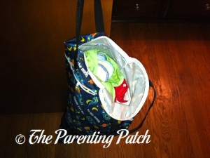 Dirty Diapers Hanging in Spaceship ecoAble Wet/Dry Cloth Diaper Pail Bag with Handles