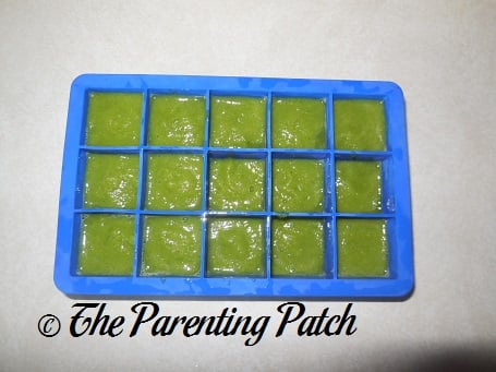 Homemade Pea Baby Food in Silicone Ice Cube Tray