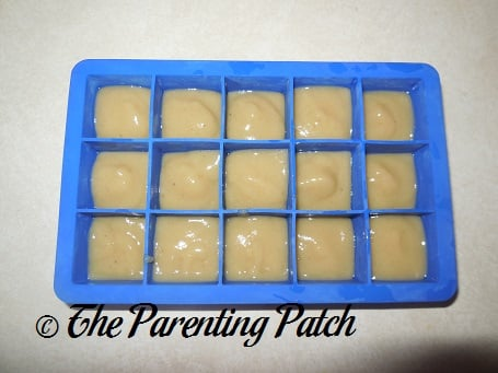 Homemade Banana Baby Food in Silicone Ice Cube Tray