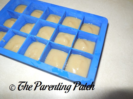 Homemade Acorn Squash and Banana Baby Food in Silicone Ice Cube Tray